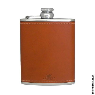 Tan-Luxury-Leather-6oz-Stainless-Steel-Hip-Flask