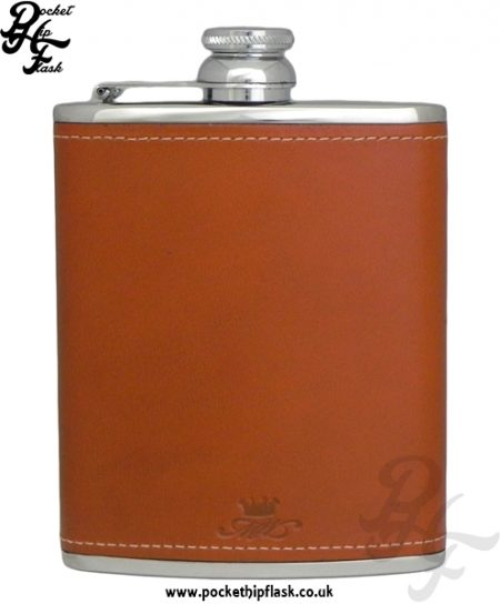 Tan Luxury Leather 6oz Stainless Steel Hip Flask