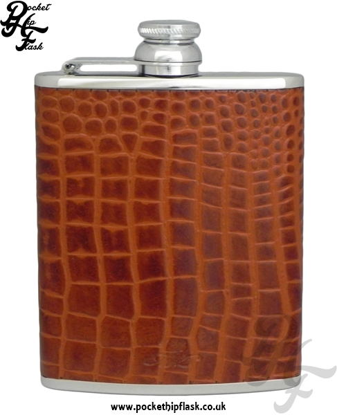 Tan Nile Crocodile Luxury Leather 6oz Stainless Steel Hip Flask