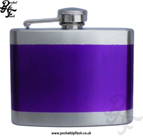 4oz Ladies Stainless Steel Hip Flask with Purple Line