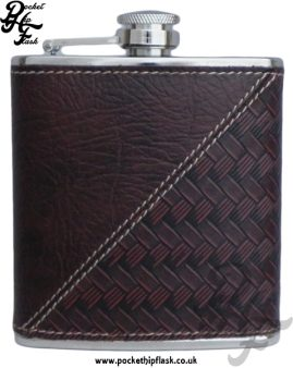 6oz Stainless Steel Hip Flask and Textured Faux Leather