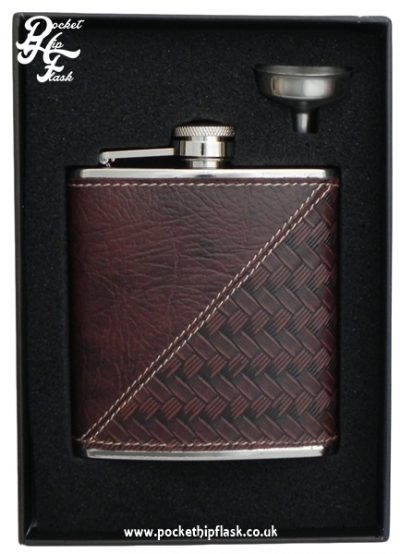 6oz Stainless Steel Hip Flask with Textured Faux Leather