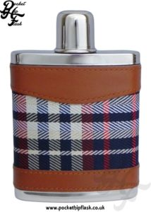 7oz Blue and Red Tartan Hip flask with Small Cup