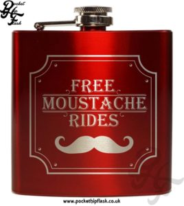 Free Moustache Rides Red 6oz Hip Flask