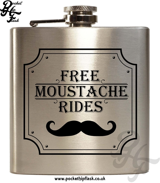 Free Moustache Rides Silver 6oz Hip Flask