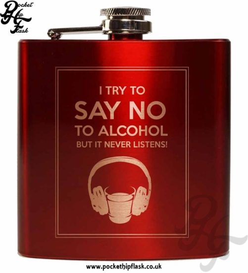 Say No To Alcohol Red 6oz Hip Flask