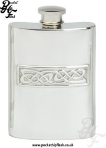 4oz Pewter Hip Flask with Celtic Casting