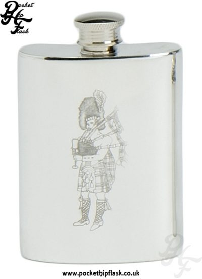 4oz Pewter Hip Flask with Scottish Piper