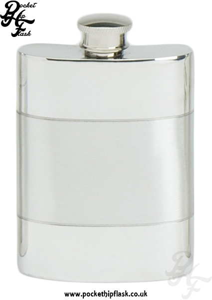 4oz Satin Band Pewter Hip Flask