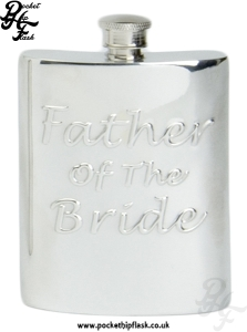 6oz Pewter Hip Flask Father of the Bride