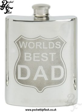 6oz Pewter Hip Flask Worlds Best Dad