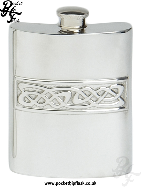 6oz Pewter Hip Flask with Celtic Casting
