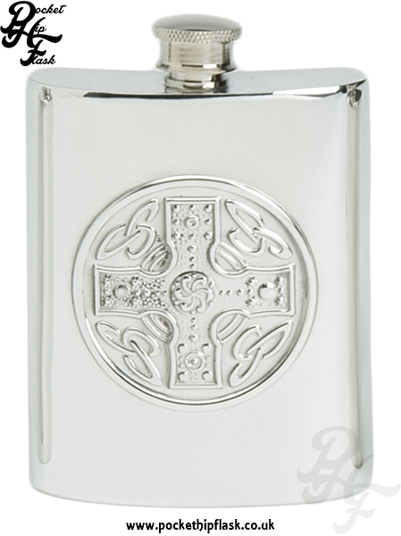 6oz Pewter Hip Flask with Celtic Cross