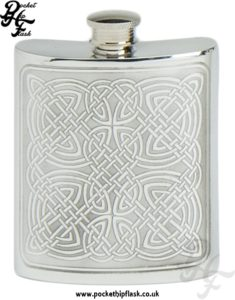 6oz Pewter Hip Flask with Celtic Design