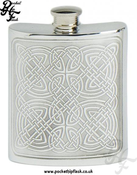 6oz Pewter Hip Flask with Celtic Design