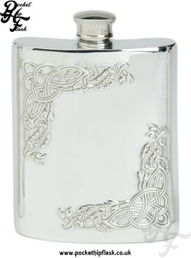 6oz Pewter Hip Flask with Corner Celtic Serpent