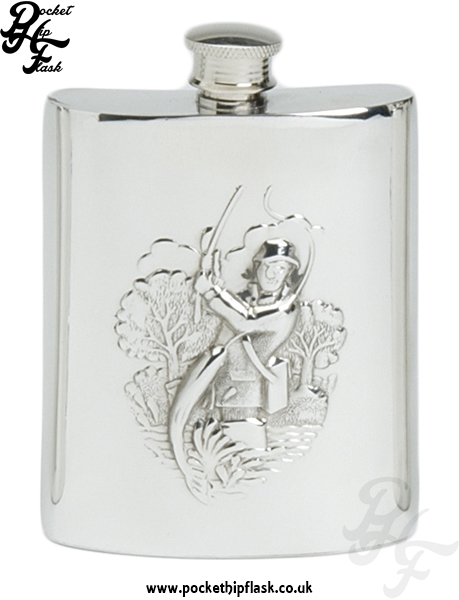 6oz Pewter Hip Flask with Fishing Scene