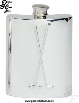 6oz Pewter Hip Flask with Golf Clubs