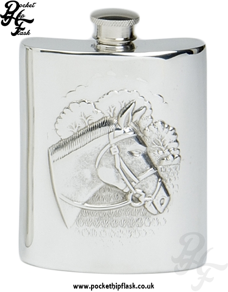 6oz Pewter Hip Flask with Horse