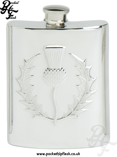 6oz Pewter Hip Flask with Scottish Thistle