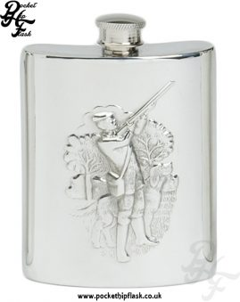 6oz Pewter Hip Flask with Shooting Scene
