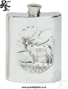 6oz Pewter Hip Flask with Stag