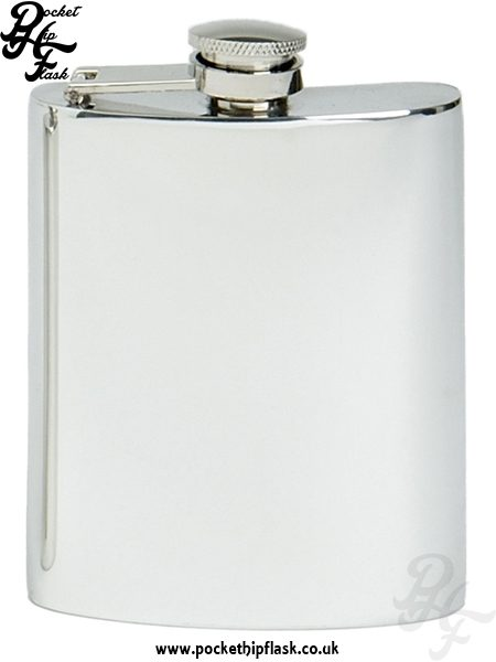 6oz Plain Pewter Hip Flask with Captive Top