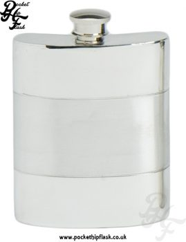 6oz Satin Band Pewter Hip Flask