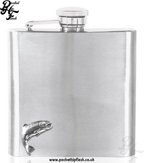 6oz Stainless Steel Hip Flask with Pewter Fish