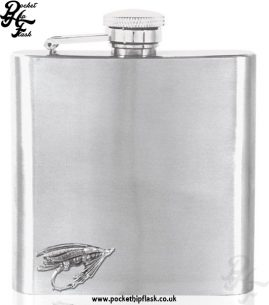 6oz Stainless Steel Hip Flask with Pewter Fishing Lure