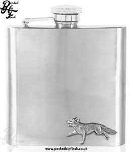 6oz Stainless Steel Hip Flask with Pewter Fox