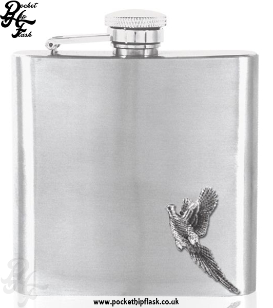 6oz Stainless Steel Hip Flask with Pewter Pheasant