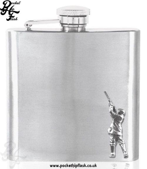 6oz Stainless Steel Hip Flask with Pewter Shooting Figure