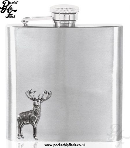 6oz Stainless Steel Hip Flask with Pewter Stag