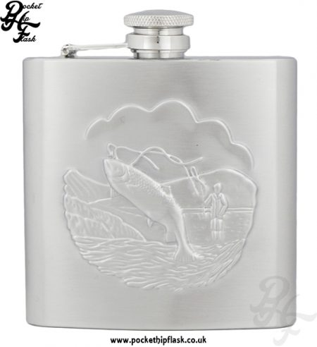 6oz Stainless Steel Hip Flask with Stamped Fishing Scene