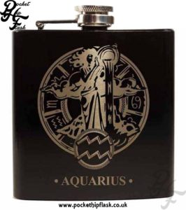Black Aquarius Star Sign 6oz Hip Flask
