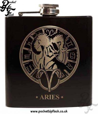 Black Aries Star Sign 6oz Hip Flask