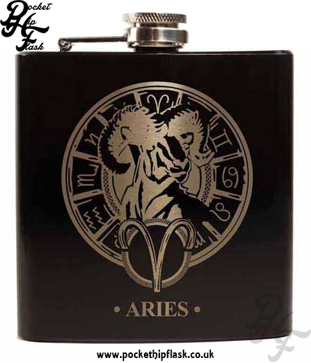 Black Aries Star Sign 6oz Hip Flask