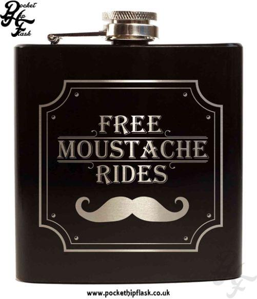 Free Moustache Rides Black 6oz Hip Flask