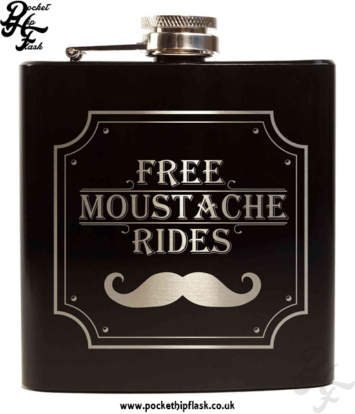 Free Moustache Rides Black 6oz Hip Flask