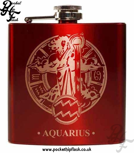 Red Aquarius Star Sign 6oz Hip Flask