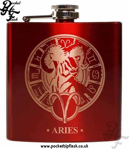 Red Aries Star Sign 6oz Hip Flask
