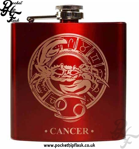 Red Cancer Star Sign 6oz Hip Flask
