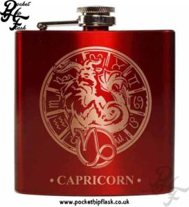 Red Capricorn Star Sign 6oz Hip Flask