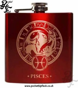 Red Pisces Star Sign 6oz Hip Flask