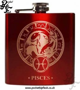 Red Pisces Star Sign 6oz Hip Flask