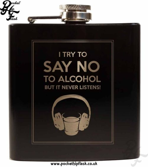 Say No To Alcohol Black 6oz Hip Flask