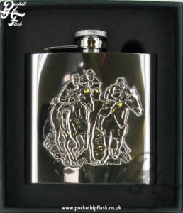 Shiny 6oz Stainless Steel Hip Flask with Stamped Horse Scene