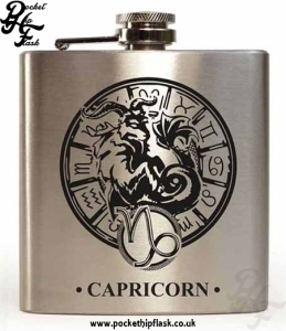 Silver Capricorn Star Sign 6oz Hip Flask