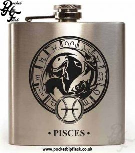 Silver Pisces Star Sign 6oz Hip Flask